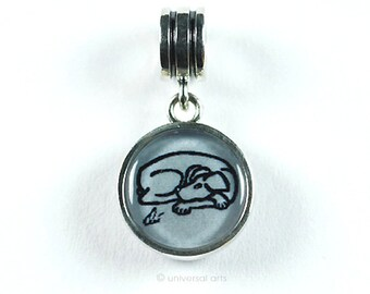 "Jacqueline Ditt - ""Dog - Grey"" charm silver bead dangle limited Edition Artmultiple Anhänger"