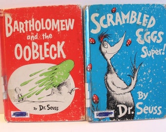Vtg Dr Seuss Book 1953 Scrambled Eggs Super 1949 Bartholomew and the Oobleck LOT 2 First Edition No Dust Jackets Random House RARE