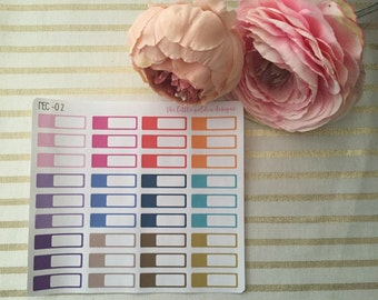 Rectangle coloured planner stickers boxes - rec02. Planner supplies, stickers, diary