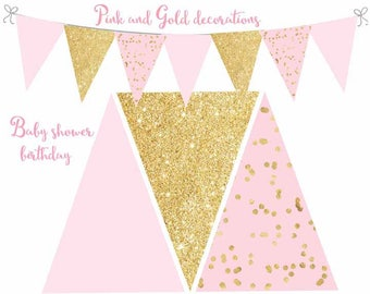 Pink and Gold Banner, Pink and Gold decorations, Baby shower decor, Birthday pink and gold decorations, Digital file.
