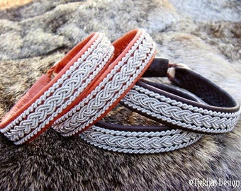Vikings and Shieldmaidens Nordic Sami Bracelet MJOLNIR Bark Tanned Leather Cuff with Tin Thread Embroidery