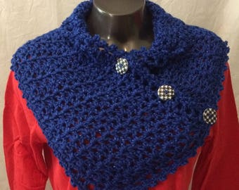 Elegant crocheted neckwarmer in Royal sparkle, wearable for evening or casual parties