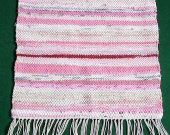 Vintage Handmade pink cotton table runner rag rug Fringe Hand Woven 70s