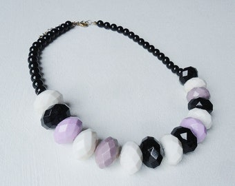 Chunky Necklace Black White Purple Lilac Faceted Beads Liquorice All Sorts Colours