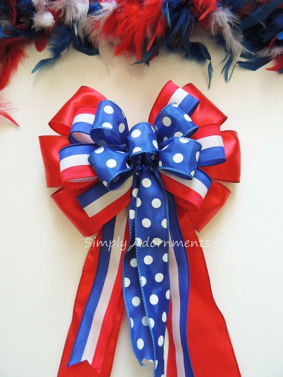 July 4th Party Decor Red White and Blue Bow Fourth of July Wreath bow Patriotic Wedding Pew bow Aisle Bow Independence Day Bow Gift Bow