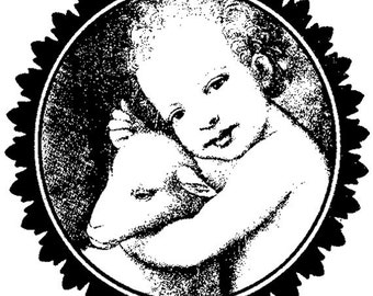 EZ Mounted Rubber Stamp Child with Lamb Collage Altered Art Craft Scrapbooking Cardmaking Collage Supply.