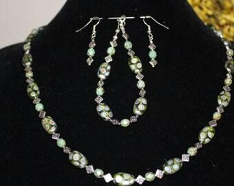 Shiny Sage Necklace, Bracelet & Earrings