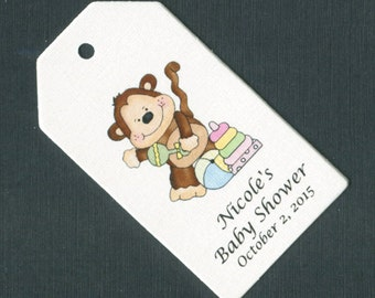 Personalized Baby Shower Favor Tags, rectangular, monkey with toys, gender neutral, set of 50