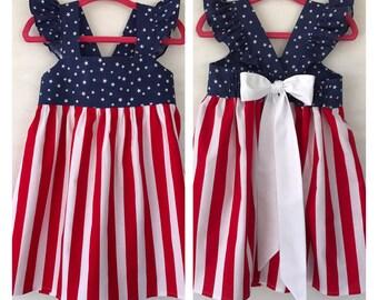 Flag Baby Dress, Patriotic Baby Dress, 4th July Dress, Baby Girls Dress, Little Girls Dress, Flutter Sleeve Dress