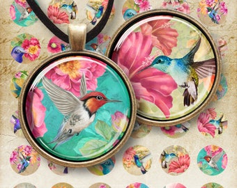 Printable 1 inch (25 mm) + 1.5 inch (38 mm) Circle Images HUMMINGBIRDS Digital Collage Sheet for pendants cabochons bottle caps bezels trays