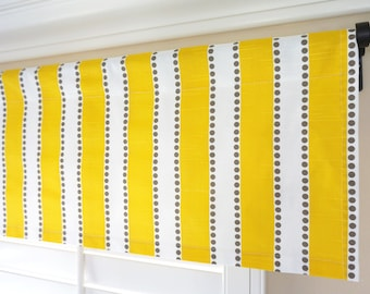 Superbe Yellow Stripes Valance.Yellow Window Valance.Yellow Valances.Nursery Valance .Yellow Kitchen