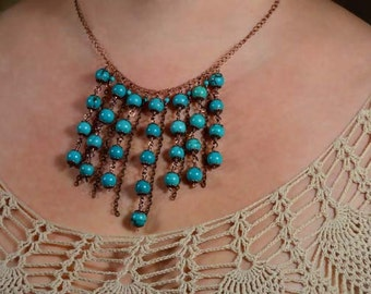 Chocolate Brown Turquoise Bib Necklace Dangle Choker Necklace Statement Necklace Copper Necklace
