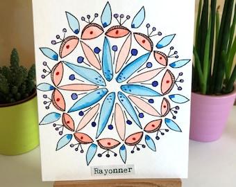 Watercolor Mandala Message card