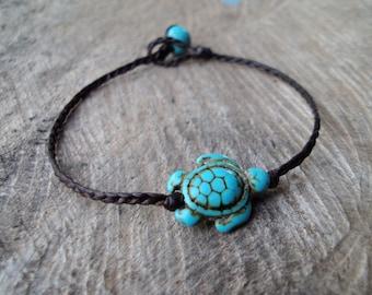 Turtle bracelets,Turquoise bracelets,Blue bracelets,Women bracelets,Stone bracelets,Beadwork bracelets