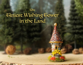 The Tiniest Wishing Tower in the Land - N Scale - Miniature Hand-painted Polymer Clay Fairy Tower - Flower Box, Golden Window, Tiled Roof