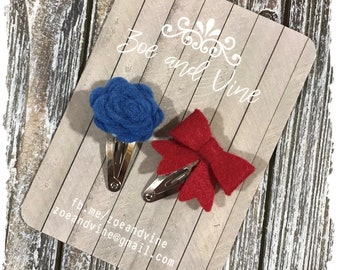READY TO SHIP, Red Blue Wool Felt Flower Mini Bow Clip Set, Baby Clips, Infant Girls Adult Mini Snap Clips