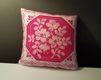 Pink Roses, cross-stitched decorative pillow, handmade.