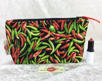 Handmade Zipper Case Zip Pouch fabric bag pencil case Chilli Peppers