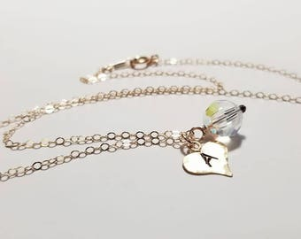 TWO Personalized Initial Gold Filled Necklace, Swarovski Crystal, Gold Filled Necklace, Heart Charm, Wedding Gift