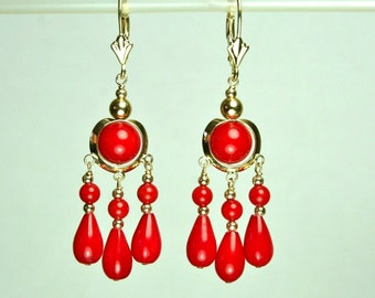 14k solid yellow gold chandelier natural red Coral earrings lever back 4.5 grams