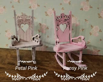 Sweetheart Miniature Dollhouse Vintage Style Rocking chair Shabby Chic Chalk paint finish in Soft Petal Pink or Pansy Pink