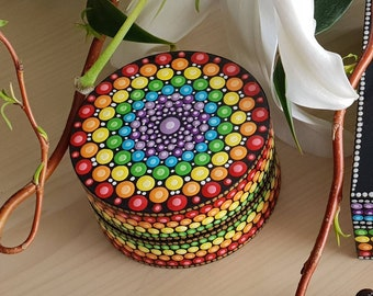Mandala Chakra Jewelry Box - Dot Art - Painted Wood Jewellery Box - Mandala Art - Trinket Box - Unique Gift - Keepsake Box  - Painted Rock