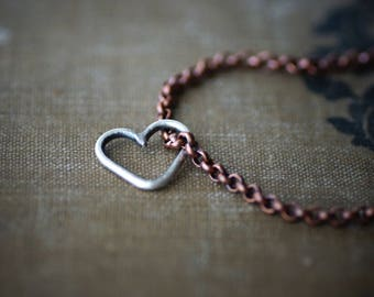 Sterling Herz auf Kupfer Kette Armband oder Fußkettchen - Antik-Finish