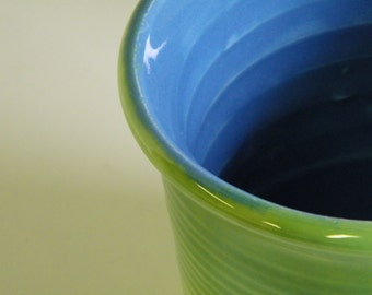 Wheel Thrown Pot, apple green and blue