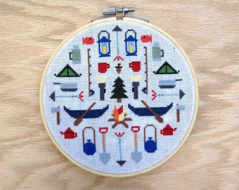 Camping - Modern cross stitch pattern PDF - Instant download