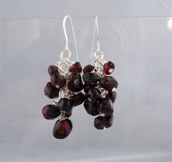 Garnet Earrings Artisan Crafted Unique Wire Wrapped Gemstone Cluster Dangles January Birthstone Birthday Anniversary Present Ideas for Women