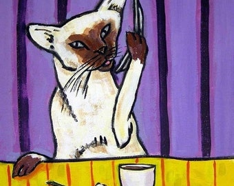 25% off cat tile - cat art - Siamese Cat Talking on a Cell Phone Art Tile Coaster, cat gifts, gift