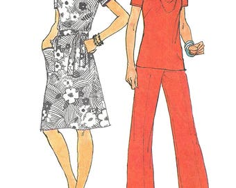 1970s Dress Pattern Jiffy Simplicity Pants Top Vintage Sewing Back Zip Women's Misses Size 12 Bust 34 Inches