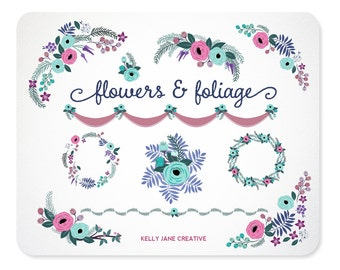Blue Frost Flowers & Foliage Wreaths, Garland, and Borders Clip Art - Blog Graphics - Instant Download 003