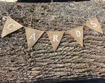 "Burlap ""Cards"" banner. Bridal shower, baby shower, wedding signs"