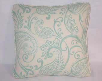 "Ivory and Aqua Paisley Throw Pillow Cover,  18"" Cotton Turquoise Blue Welted Ready Ship"