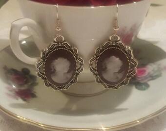 Handmade cameo earrings