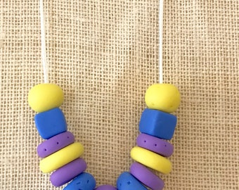 Purple, blue and yellow handmade polymer clay chunky necklace, 60cm polyester cord with breakaway clasp