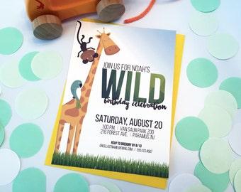Safari Zoo Jungle Animal Birthday Party Invitation