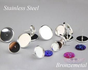 Silver STAINLESS Steel Earring Stud Bezel Settings - Surgical Steel Blank Bezel- 50 hypoallergenic Earring Post - Earring Studs Back