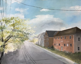 Original Acrylic Landscape Painting, On the Sunny Side of the Street