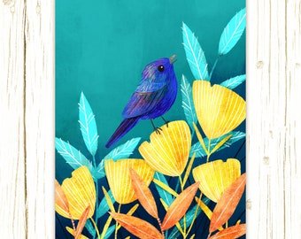 Petite Bird Prints - Indigo Bunting illustrated by Stephanie Fizer Coleman