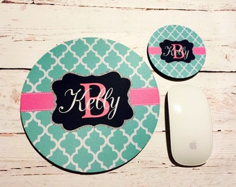Mousepad  and coaster set, monogram gift, custom mousepad and coaster, office desk accessories, birthday gift, office gifts, monogrammed