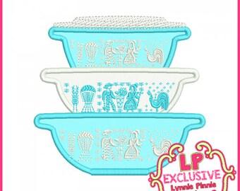 Vintage Kitchen Bowls 3 Applique  4x4 5x7 6x10 Machine Embroidery Design