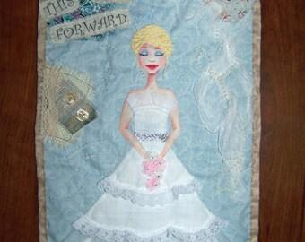 OOAK Applique wall hanging art quilt bride lace