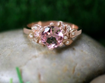 Pink Tourmaline and Diamond Engagement <Prong/Pave> Solid 14K Rose Gold (14KR) Colored Stone Wedding Ring *Fine Jewelry* (Free Shipping)
