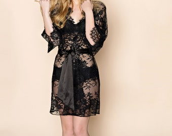 Swan Queen lace kimono bridal robe in boudoir black - style 102