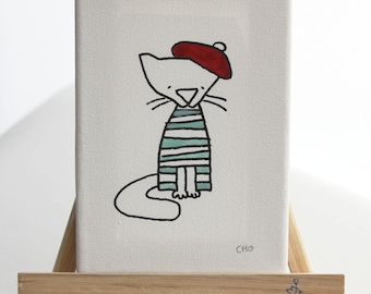 le mew French cat hand drawn canvas art
