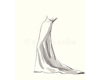 FLASH SALE til MIDNIGHT Vintage Fashion Sketch Dress 2, Girls Room decor, nursery decor, neutral tones, grey, cream, girls room prints