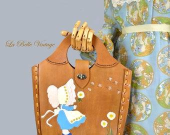 Vintage Tooled Leather Tote 70s Colorful Folk Handbag ~ Artist Bonnie J Steele