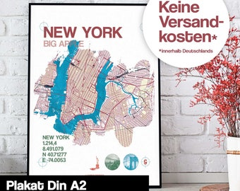Poster - New York map map